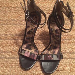 Sam Edelman Black And Silver Stilettos